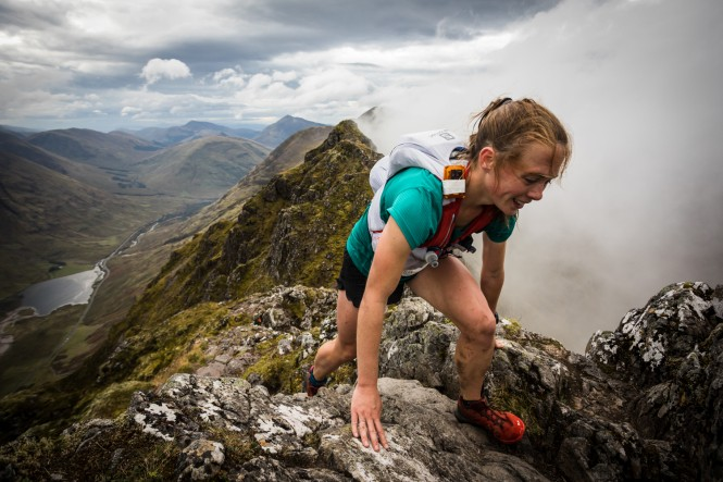 Salomon Glen Coe Skyline - First Female - Georgia Tindley - Aonach Eagach - Copyright No Limits Photography